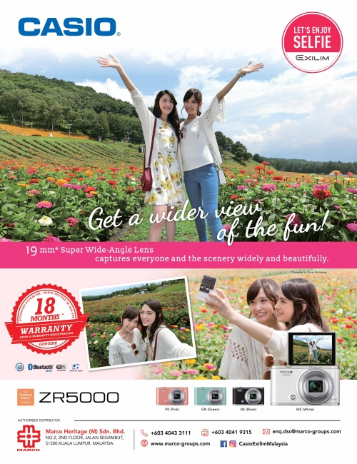 CASIO EX-ZR5000-19mm* Super Wide-Angle Lens captures everyone and the scenery widely and beautifully.