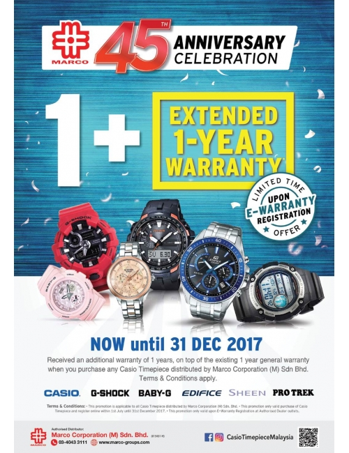 CASIO Timepiece-Marco Corporation - the sole distributor of CASIO products in Malaysia - is celebrating our 45th Anniversary!